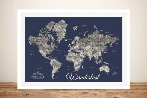 Buy a Personalised Navy Blue World Map