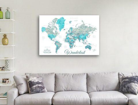 Buy Ready to Hang Ocean Tones Map Art
