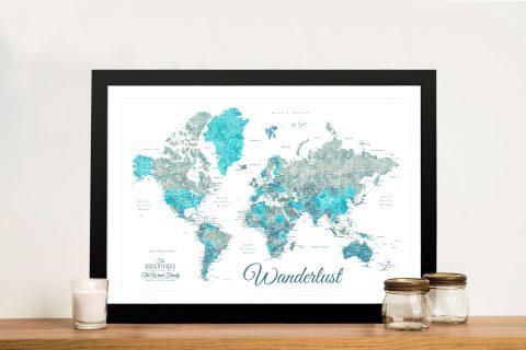 Buy Watercolour Style Ocean Tones Map Art