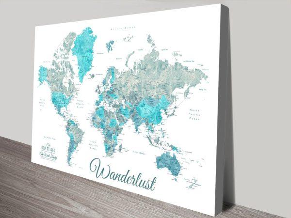 Buy Wanderlust Push Pin Map Art in Ocean Tones