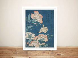 Buy Peonies and Canary Hokusai Framed Art