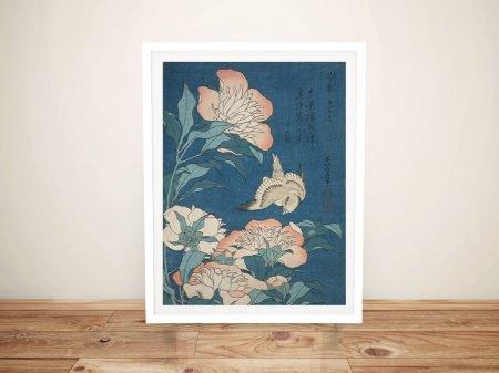 Buy Peonies and Canary Hokusai Framed Art