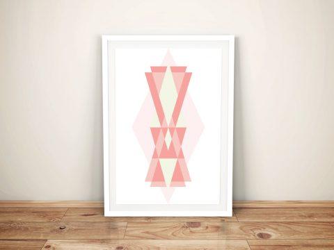 Buy Pink Geometric Framed Art on Canvas