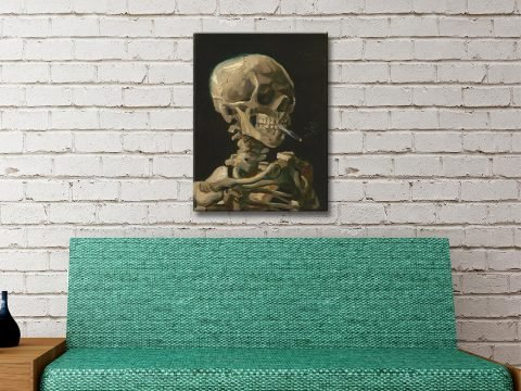Skull of a Skeleton with Burning Cigarette canvas artwork