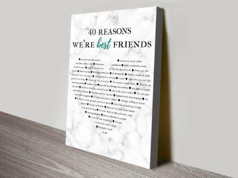 40 Reasons Why We're Friends Personalised Artwork