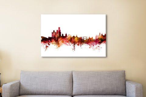 Buy Amsterdam Skyline Watercolour Wall Art AU