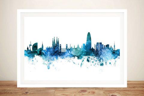 Buy Barcelona Skyline Art by Michael Tompsett