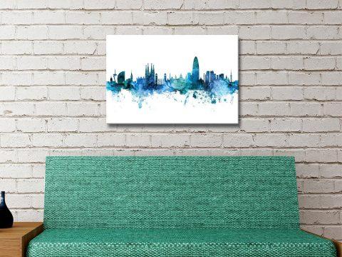 Buy a Barcelona Skyline Print in Blue Gift Ideas AU