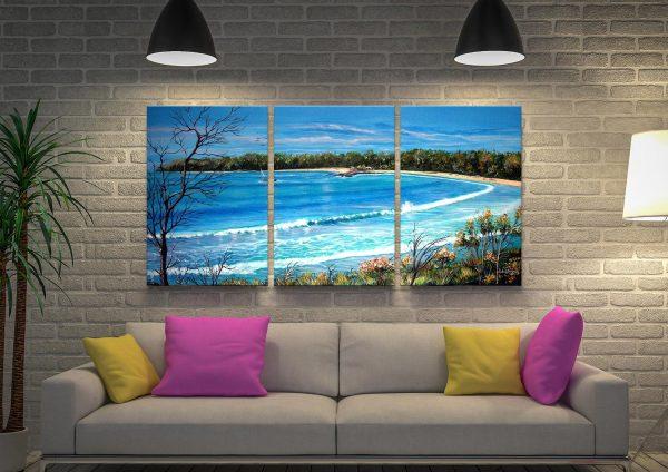 Beach View 3 Panel Canvas Artwork