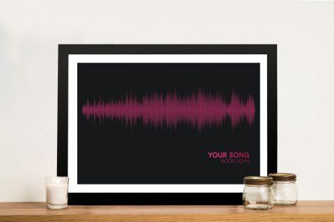 Elton John Your Song Pink Framed Soundwave Art