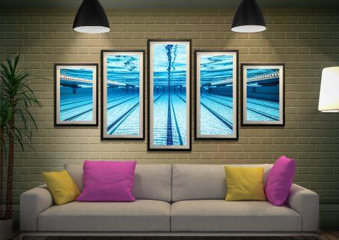 Swimming Pool Underwater 5-Panel Wall Art