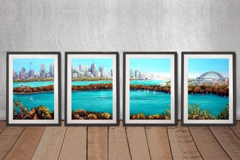 Sydney-Harbour- Linda-Callaghan-4-Panels-Framed