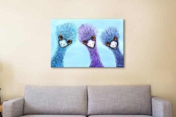 Emus-Linda-Callaghan-Watercolour-Canvas-Print
