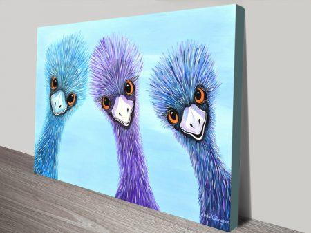 The-Three-Amigos-Emus-Linda-Callaghan-Watercolour