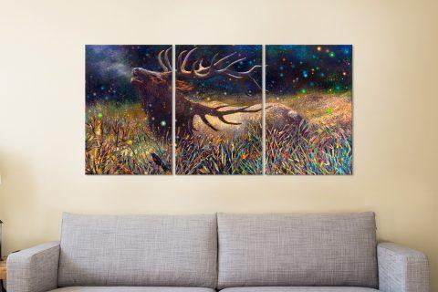 Wapiti Bull Elk Triptych Panels Canvas Print