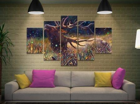Wapiti Bull Elk Iris Scott 5-Piece Canvas Print