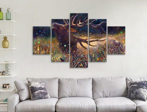 Wapiti Bull Elk 5 Panels Canvas Artwork