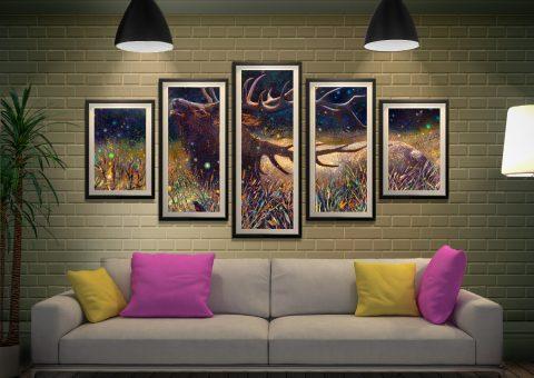 Wapiti Bull Elk 5 Panels Framed Wall Art