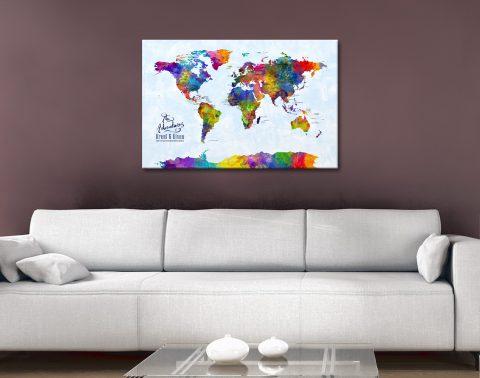 Custom Watercolour World Map Artwork