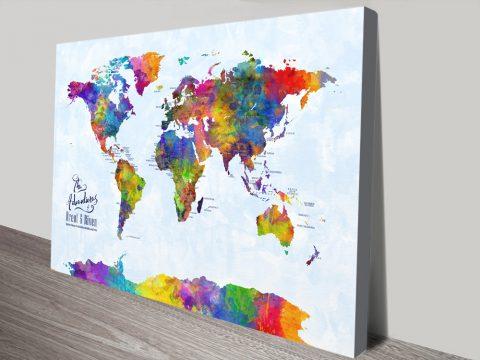 Multicoloured-Watercolour-Pushpin-World-Map