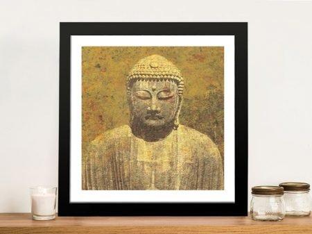 Framed Vintage Asian Buddha Print on Canvas