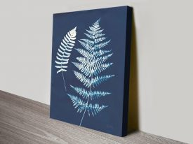 Nature by the Lake Ferns V Indigo Canvas Art