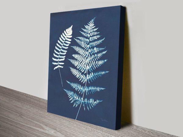 Nature by the Lake Ferns V Indigo Canvas Art