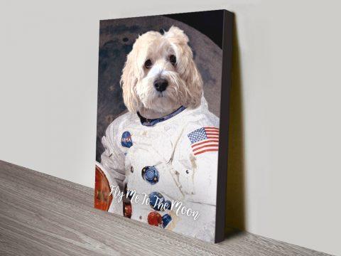 Astronaut Dog Pet Portrait canvas print
