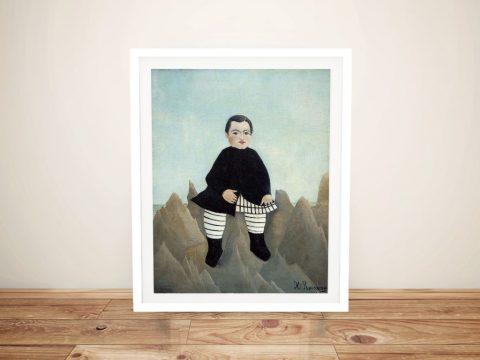 Boy on the Rocks Henri Rousseau Framed Print