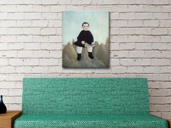Boy on the Rocks Ready to Hang Classic Art AU