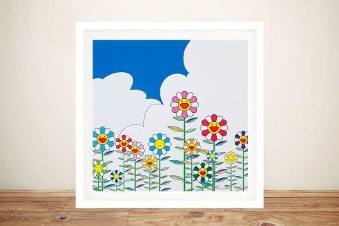 Framed Canvas Print of Flower 2 by Murakami