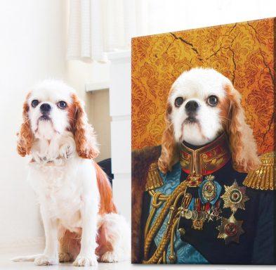 The General Pet Portrait Stretched Canvas Art