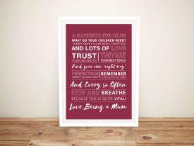 Manifesto for Mums Bespoke Word Art