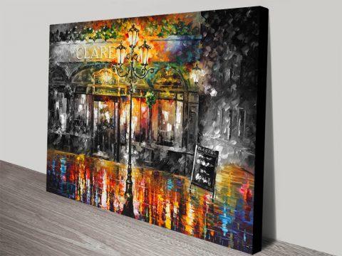 Misty Cafe Colour Splash Leonid Afremov Artwork Canvas Print