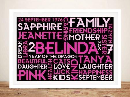 Pretty in Pink Custom Word Cloud Wall Art