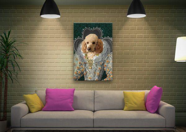 Queen Elizabeth Pet Portrait Canvas Artwork