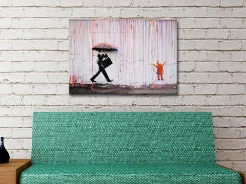 Banksy Umbrella Rainman Print