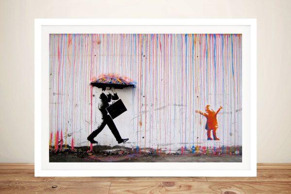Banksy Rain Girl Umbrella Framed Wall Art