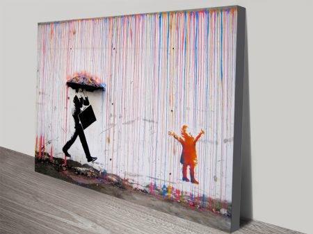Banksy Rain Girl Umbrella canvas print