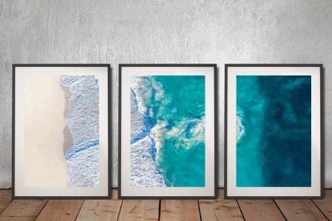 Framed Matt Day Aerial Surf Triptych Wall Art