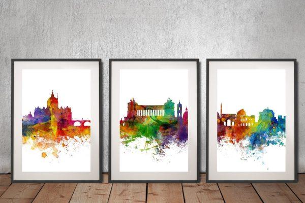 Rome Skyline 3-Piece Watercolour Wall Art