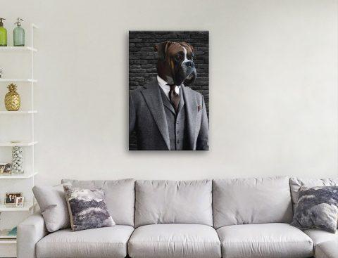 Ready to Hang Dapper Dog Pet Portrait AU