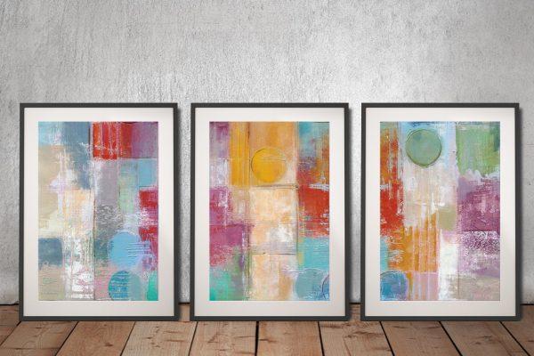 Buy Summer Rain Triptych Abstract Art AU