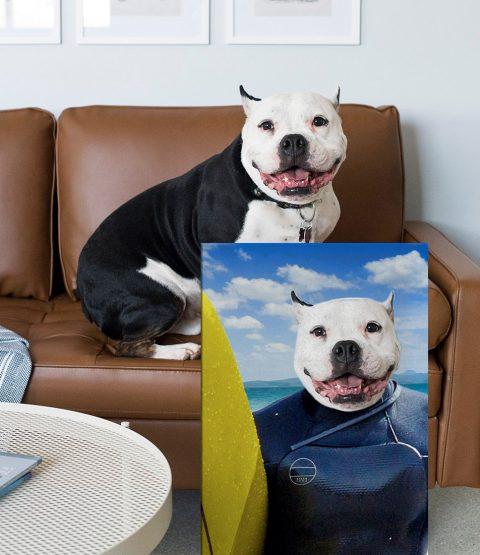 The Surfer a Custom Pet Portrait Print on Canvas
