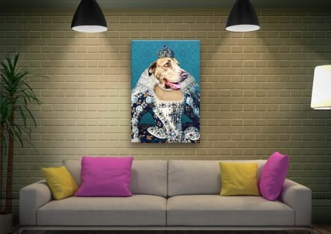 The Queen Dog Portrait canvas artwork