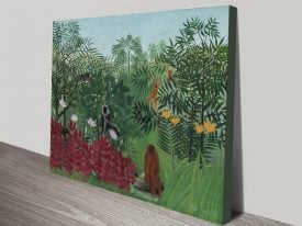 Tropical Forest with Monkeys Landscape Art