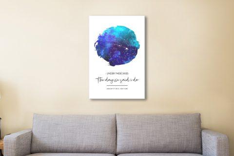 Night Sky Blue Watercolour Star Map Art Gift