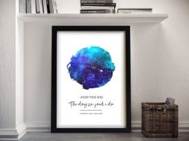 Custom Sky Blue Watercolour Star Map Art