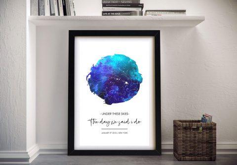 Custom Sky Blue Watercolour Star Map Art