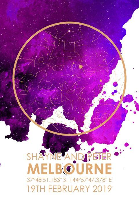 Watercolour City Map Star Australia